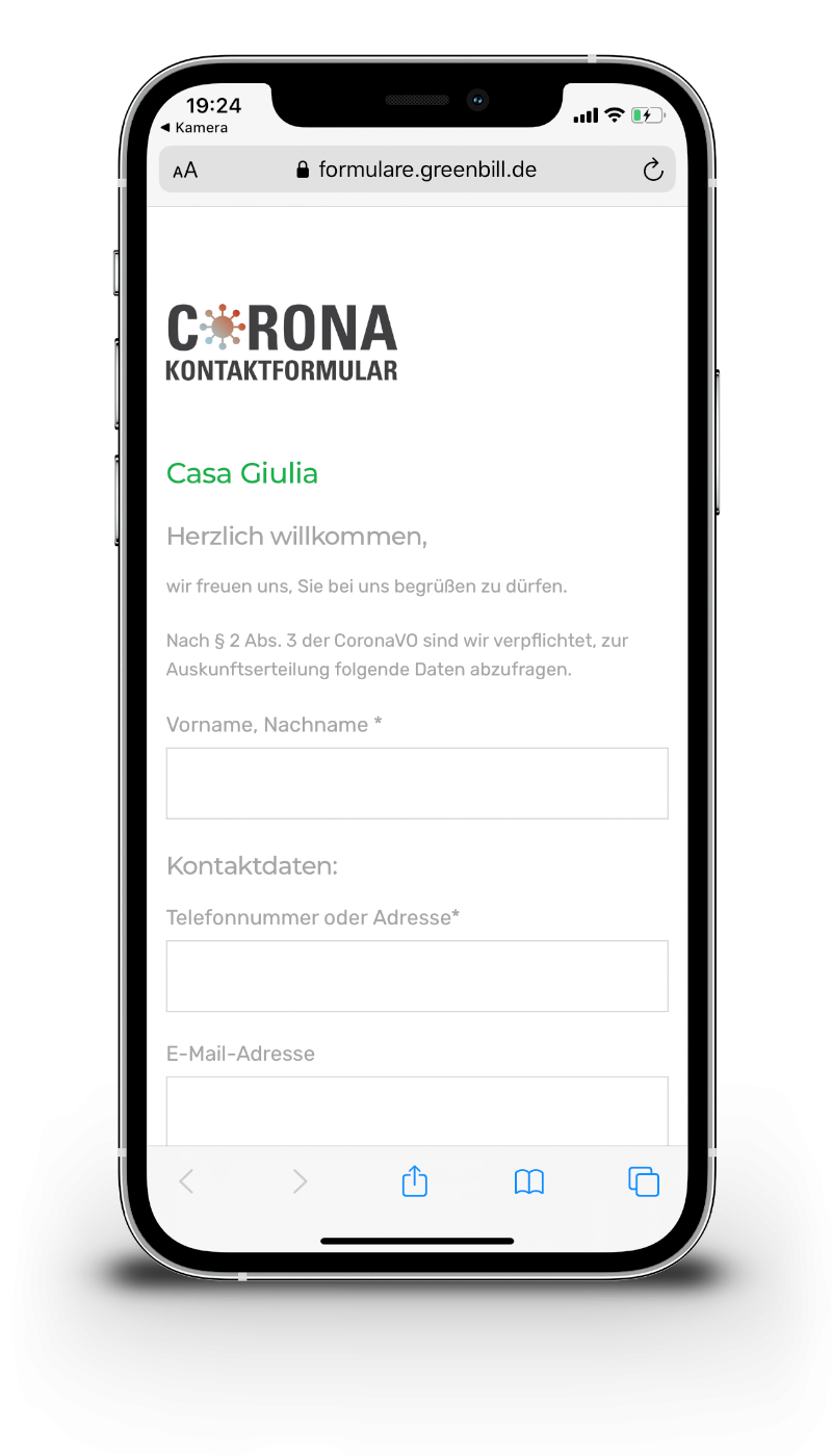 Corona Formular Mochup Handel